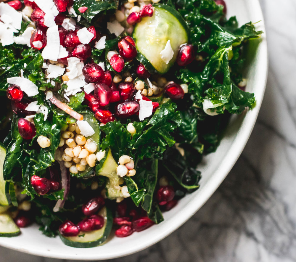- Sorghum, paired with hearty kale and zippy pomegranate creates a winter salad with a tropical feel that is actually appropriate for a full meal, not just a side or snack.
