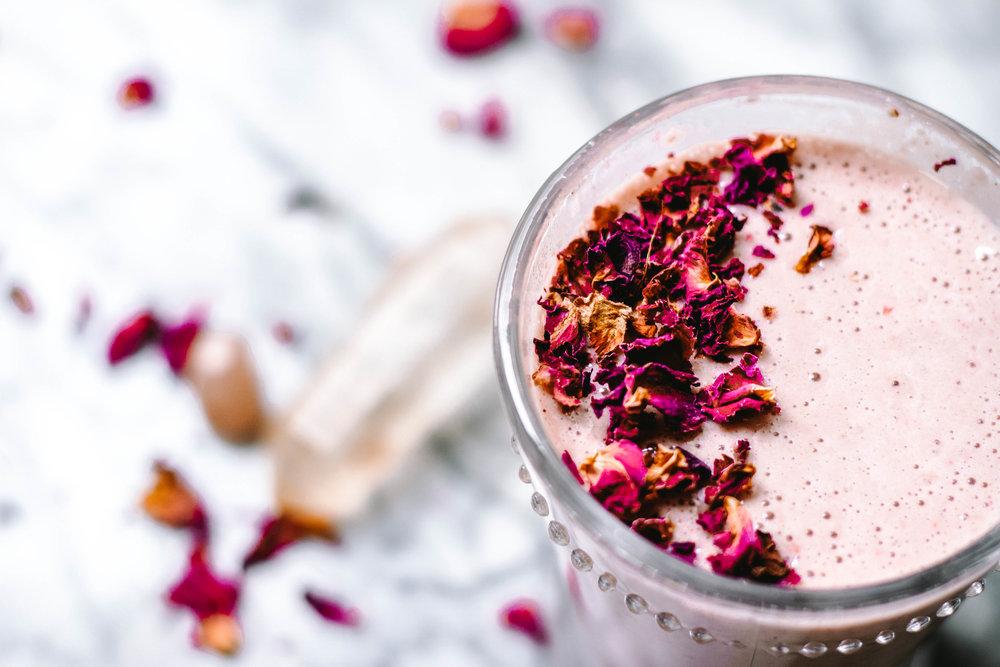 Strawberry Rose Adaptogen Smoothie - Rune Haus Recipes
