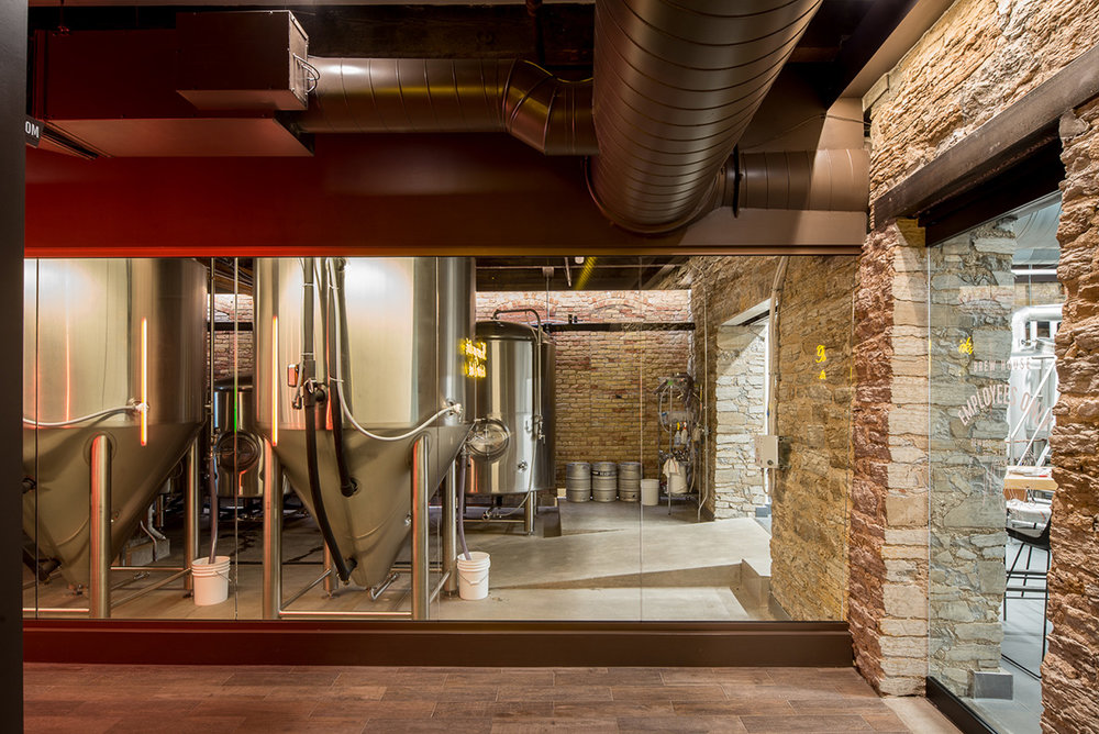 New brewing area in historic building remodeled by Christian Dean Architecture.