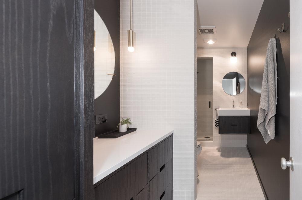 Modern black and white bathroom remodel