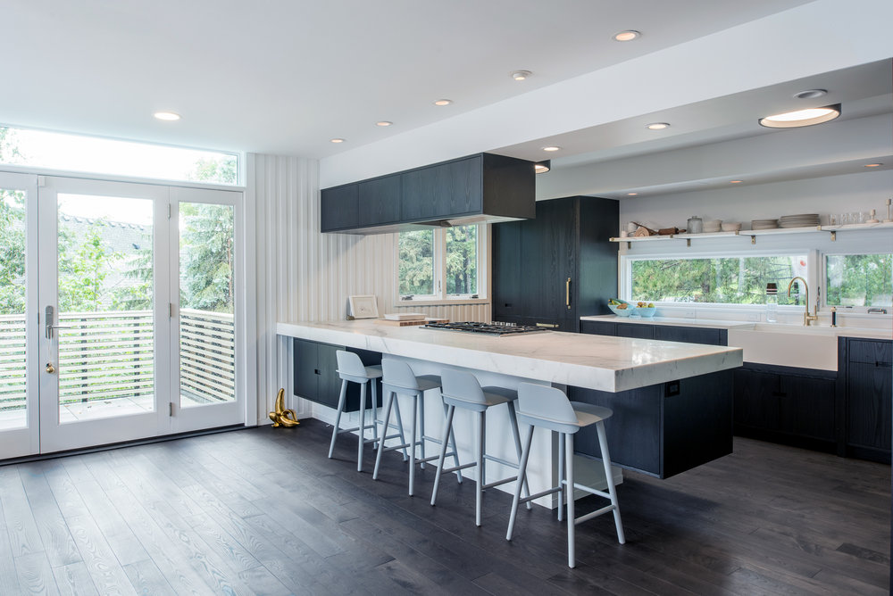 Modern kitchen remodel with breakfast bar