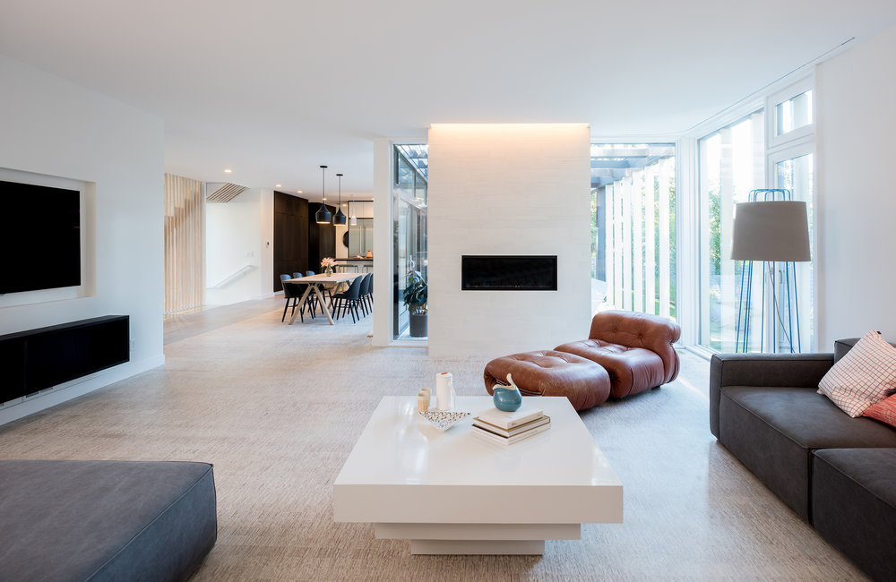 Modern living room with wood floors and fireplace wall