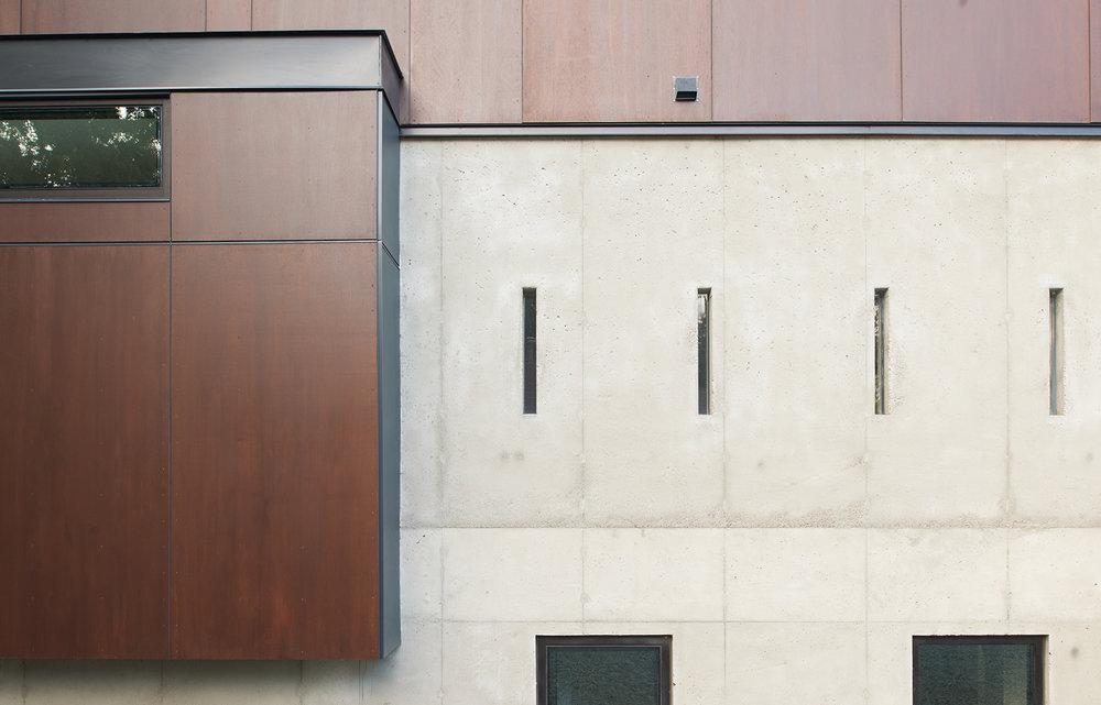 Corten steel and concrete exterior detail