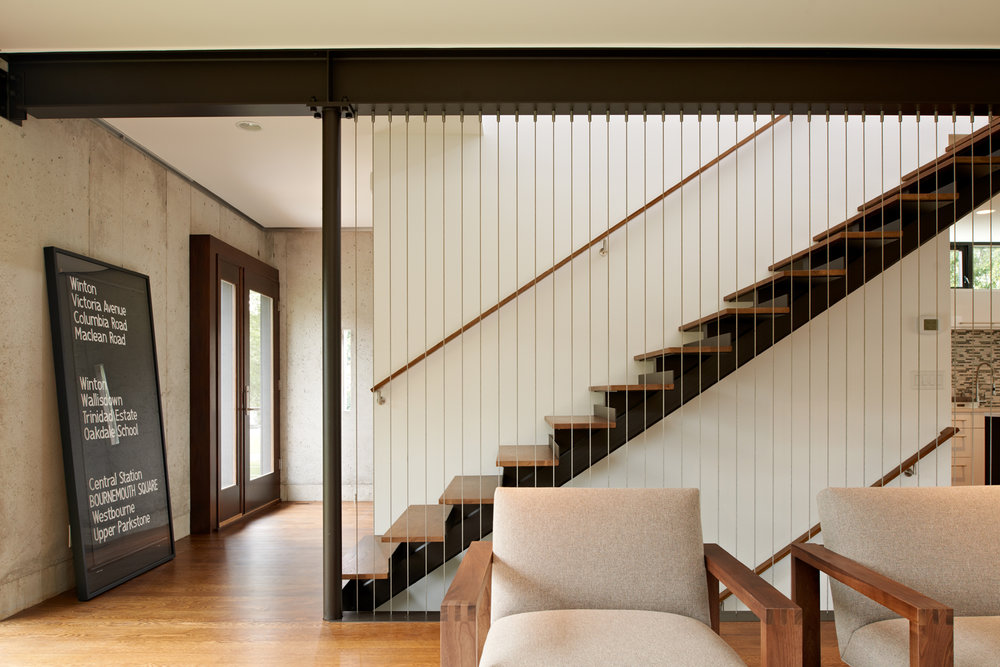 Custon open stair with cable rail by Christian Dean Architecture