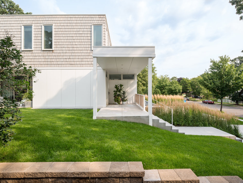 Front porch of a modern beach home in Minneapolis