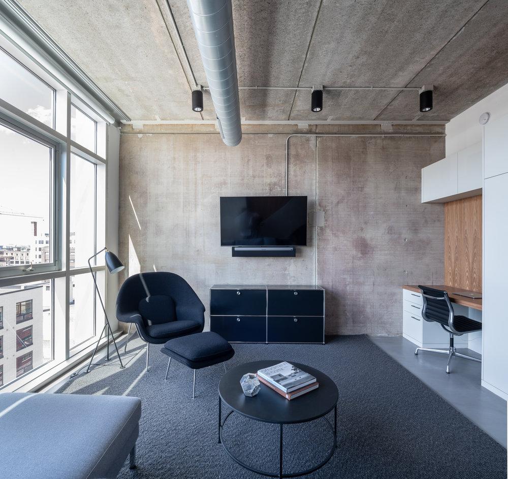 Modern loft den designed by Christian Dean Architecture