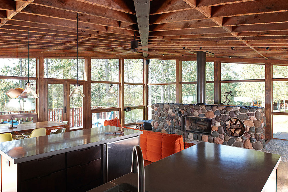 Reclaimed timber ceiling in a modern cabin designed by Christian Dean Architecture