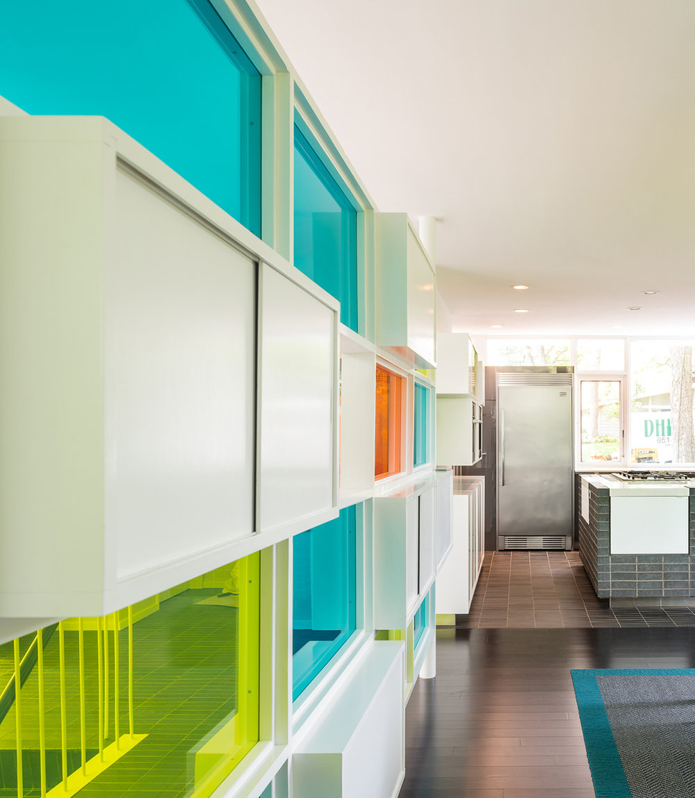 Detail of colorful midcentury divider wall