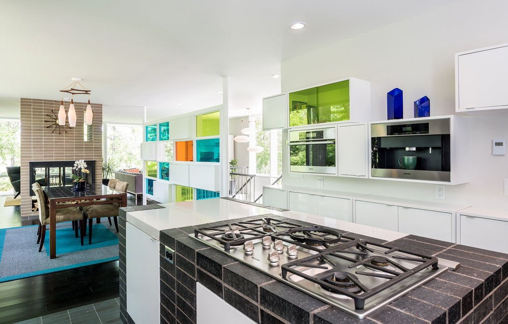 Colorful modern kitchen renovation of a Ralph Rapson midcentury home