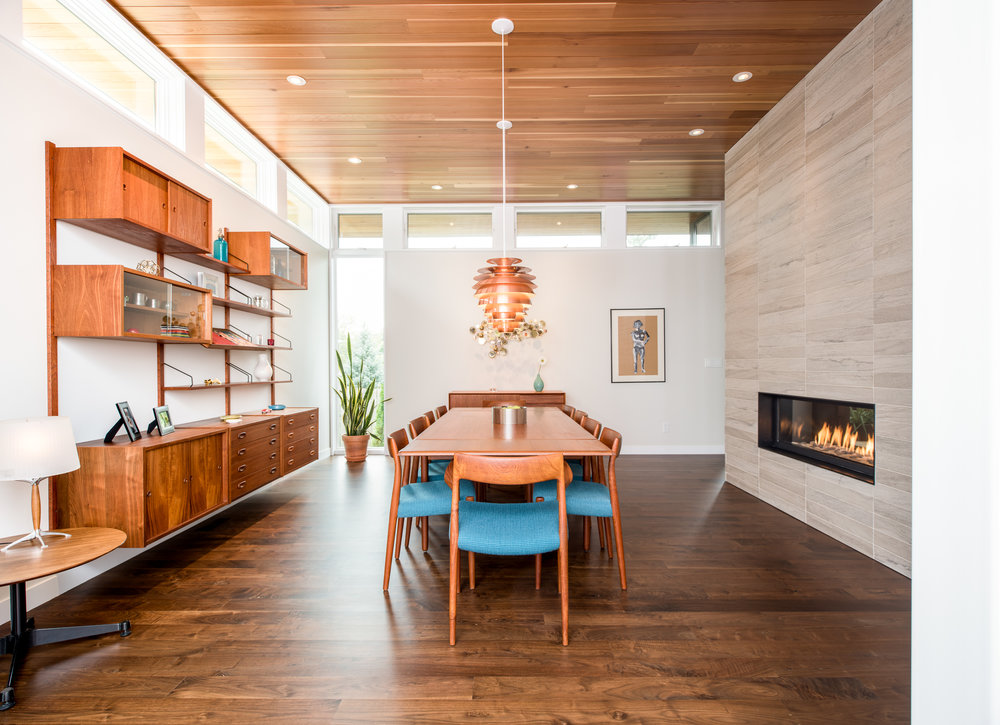 Modern midcentury dining room  designed by Christian Dean Architecture