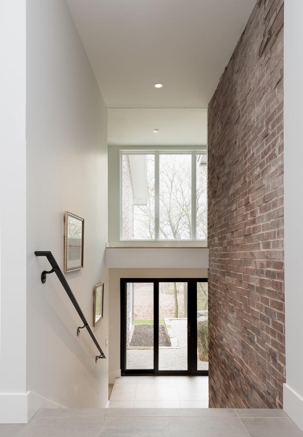 Interior brick staircase wall