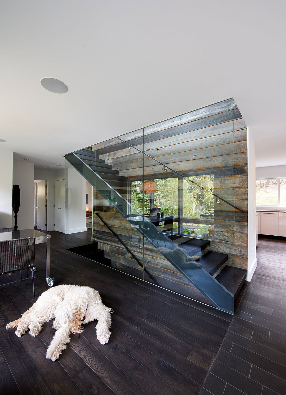 Modern staircase between glass and wood paneled walls