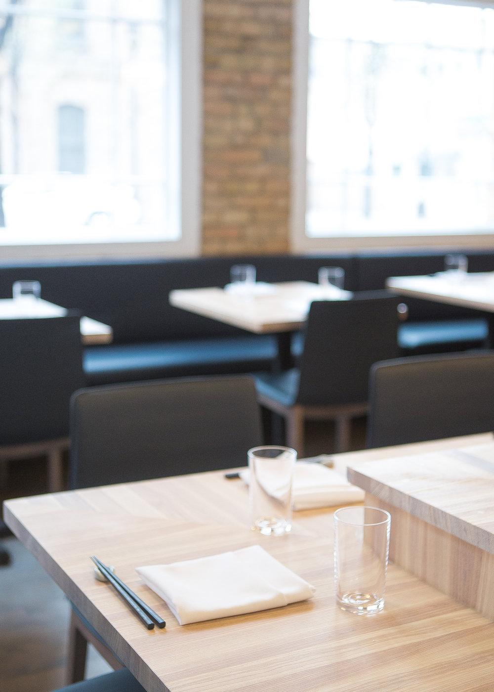 custom wood bar corner detail in restaurant