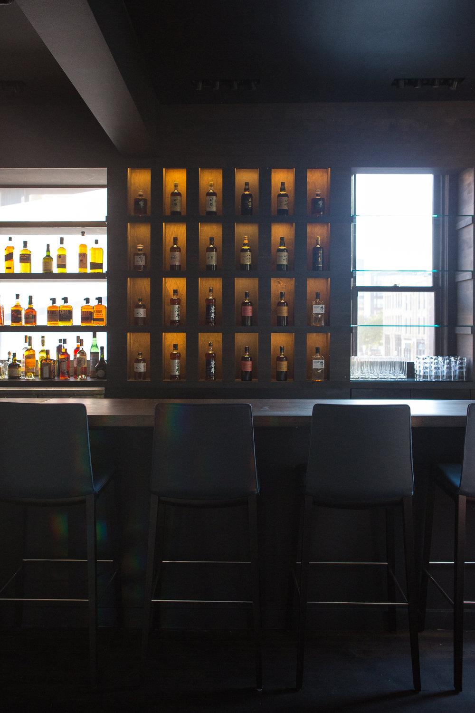 modern custom wood japanese whiskey bar