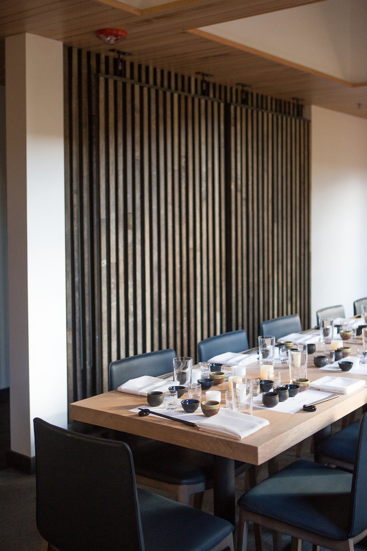 custom modern wood slat wall in restaurant