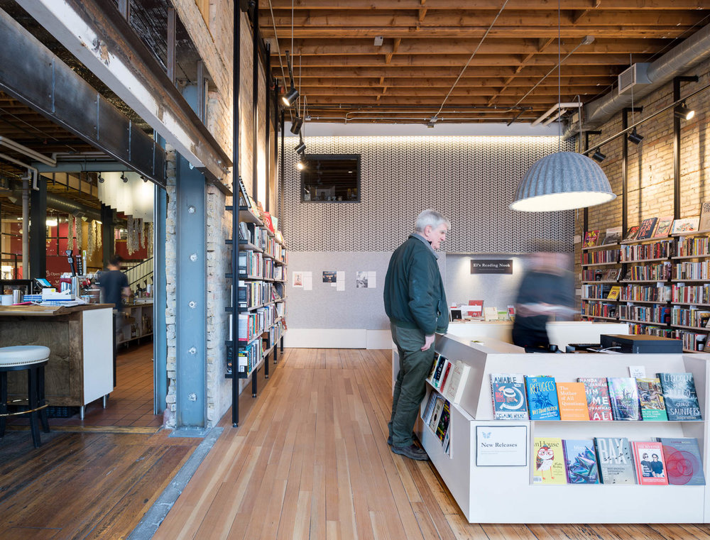 modern bookstore remodel in historic building in downtown minneapolis