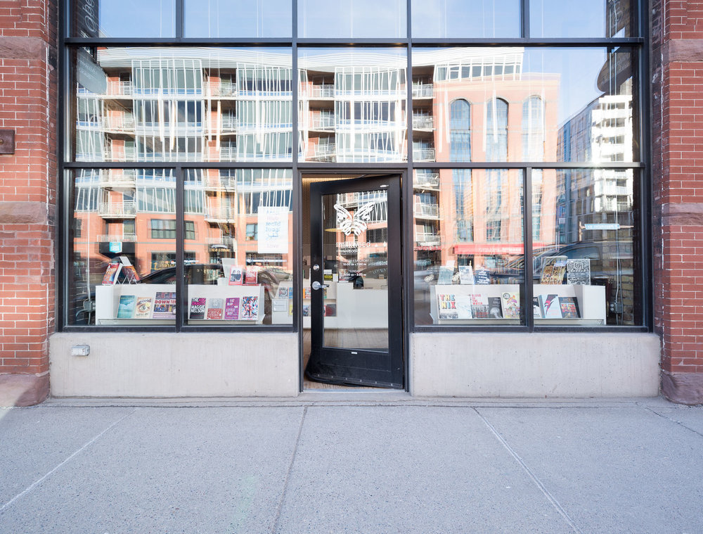 modern storefront to milkweed bookstore in minneapolis
