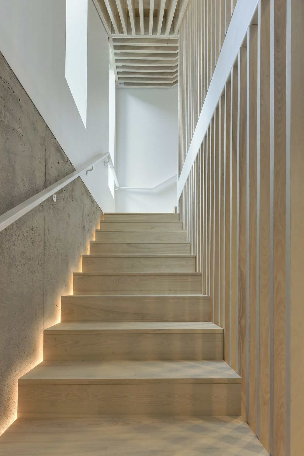 Custom accoya staircase with slat wall and concealed light detail