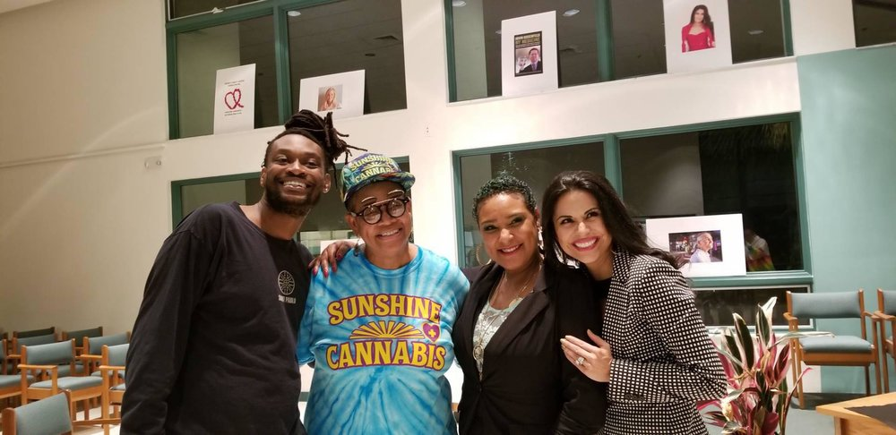 "Kyle (Nunee's son), Yvette ""Nunee"" Staford (CCSFFL) , Johaira ""Jora"" Cespedes (FL Cannabis Queen) snd Dr. Jenny Wilkins (ageVital Pharmacy & Research)"