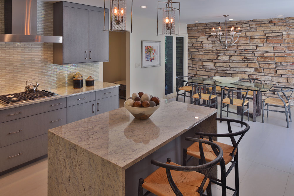 Modern Kitchen with Stone Accent Wall