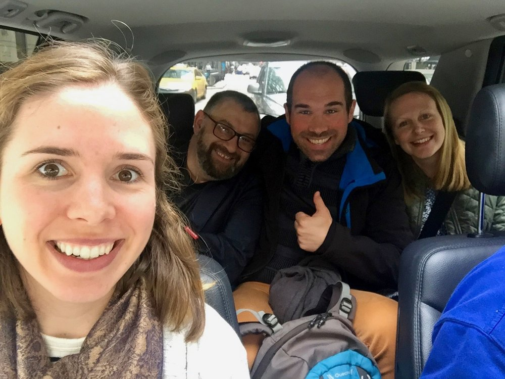 Graduate student Shelby Doyle with former Koehler Lab research scientist Marius Pop and postdoc's André Richters and Helen Evans taking a Cab into town between sessions.