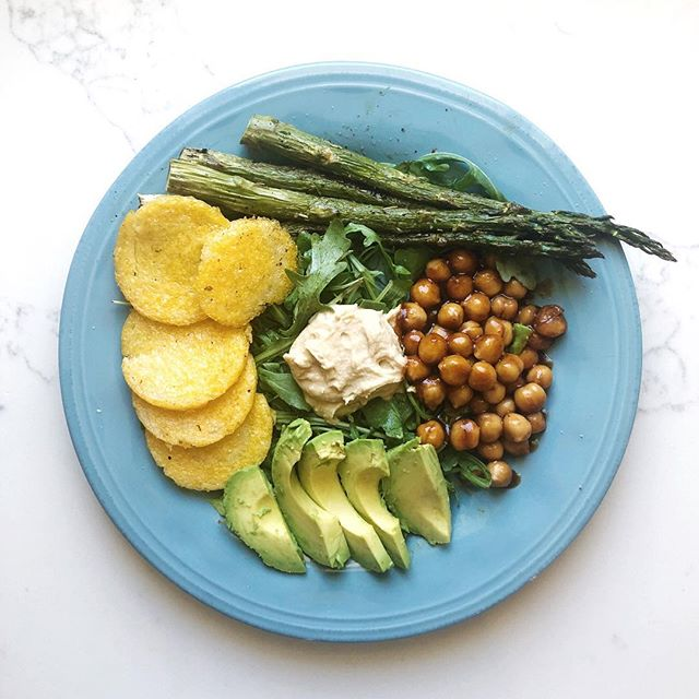 2019 GOALS:  1.  Take better care of the body God has given me. ⠀⠀⠀⠀⠀⠀⠀⠀⠀ So here's a recent lunch. Pics or it didn't happen, right?! ⠀⠀⠀⠀⠀⠀⠀⠀⠀ I've slowly but surely been moving to a more #plantbased diet over the last month. Not sure I've ever felt better y'all.  Yes, I'll still eat a little chicken (certified organic, vegetarian diet, pasture raised) or fish (wild caught) a few times a week. But I've cut out red meat and pork. ⠀⠀⠀⠀⠀⠀⠀⠀⠀ Chemicals in the cleaners, candles, makeup, personal care products are gone too. It feels good to be in control and not just use what the ads tell me are good for us. ⠀⠀⠀⠀⠀⠀⠀⠀⠀ Let's get outside of the latest fad, the latest product or pill that promises we'll lose those 20 pounds and just get back to the basics. ⠀⠀⠀⠀⠀⠀⠀⠀⠀ Real food. Real nutrients. Our bodies have an amazing way of healing themselves. Just gotta give it the right stuff 😉 ⠀⠀⠀⠀⠀⠀⠀⠀⠀ This #recipe was pretty simple, btw. ⠀⠀⠀⠀⠀⠀⠀⠀⠀ Roasted the asparagus at 400 for 20 minutes. Cooked the polenta about 5 minutes each side in a skillet. Took those out. Added cooked chickpeas and a little bbq sauce to the skillet for a few minutes. ⠀⠀⠀⠀⠀⠀⠀⠀⠀ Arugula for the base. Could use spinach too. Added the hummus and half an avacodo then all the warm ingredients. It was incredible! 💛