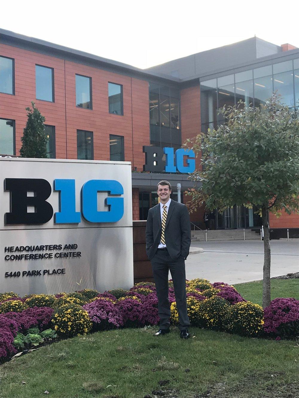 Ben with Big Ten sign.JPG