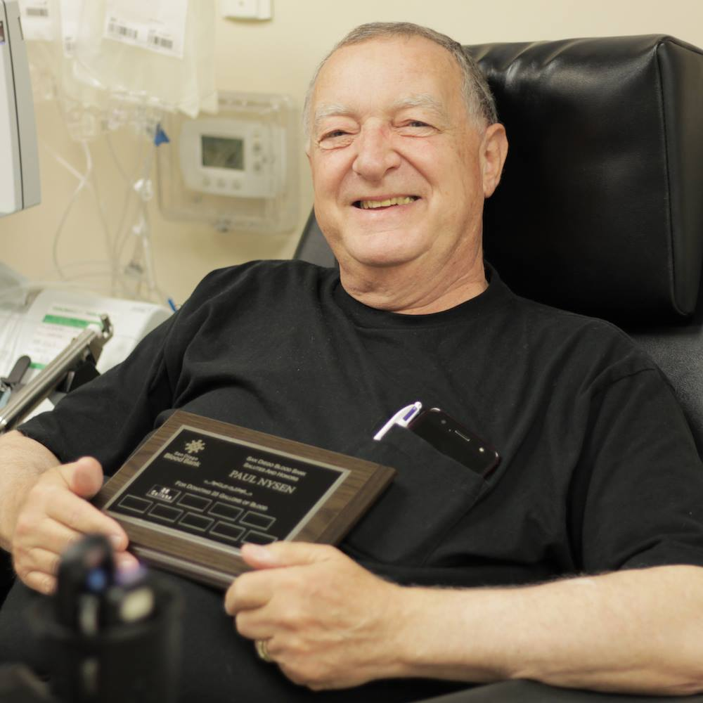 Paul Nysen, SDBB blood donor