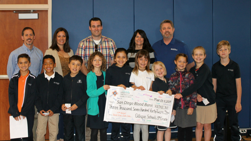 Students and staff presented a giant check, signed by the 3rd Grade Class, to VP of Development, Sherry Serio and Robert Nauman, SDBB Account Marketing Manager.