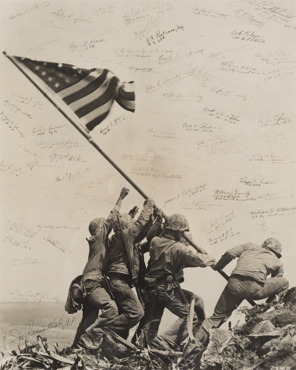 Battle of Iwo Jima, March 2, 1945 (w/surviving participants signatures)