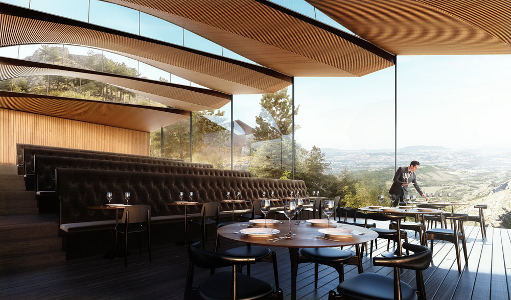 The restaurant is designed to maximize views and natural light