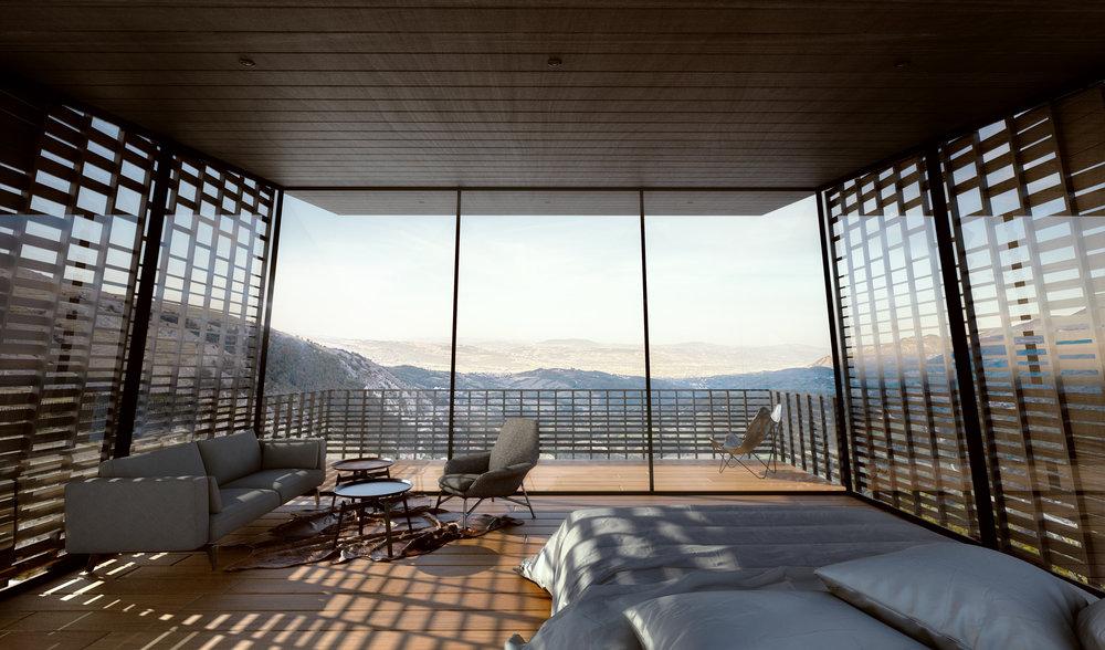 Villas are cantilevered to prevent disturbing the terrain