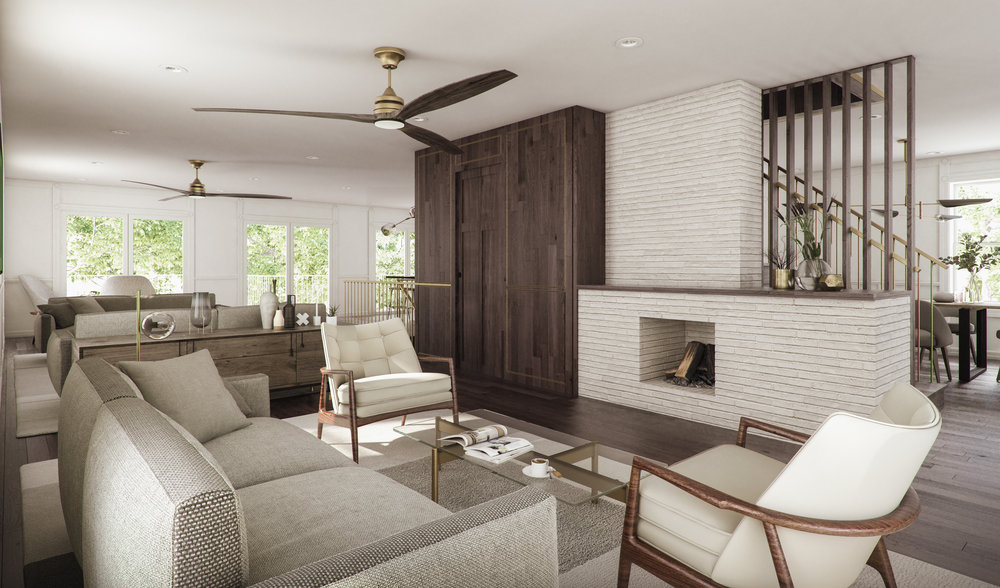 A palette of smoked wood and warm white is accented with brass trimmings
