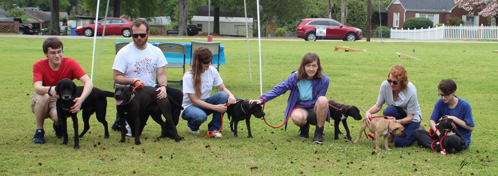 Some of our volunteers and adoptable pups! Photo Credit: LJ Clifford Photography