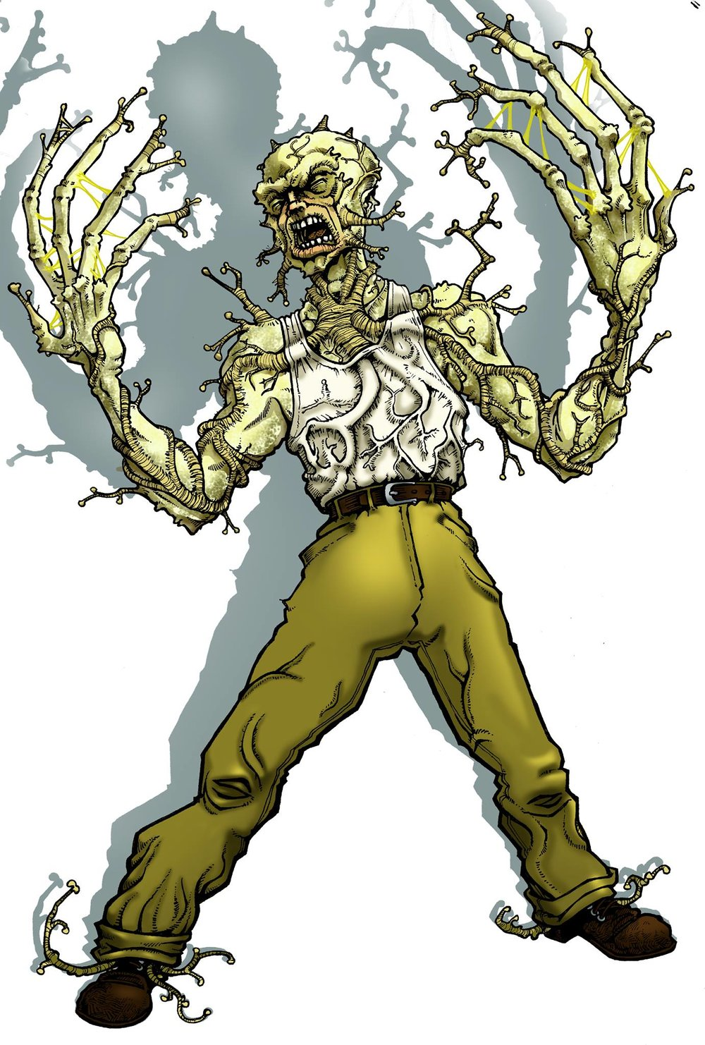Carcino. - In an experiment gone wrong, Alphonse Carcano becomes one with the cancer that he'd tried to eradicate. He soon becomes a problem in the underworld he was exiled from.