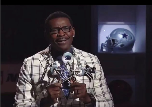 NFL Network Necklace - Michael Irvin wearing a MetalArt by B original to commemorate his induction into the Pro Football Hall of Fame - 2018.