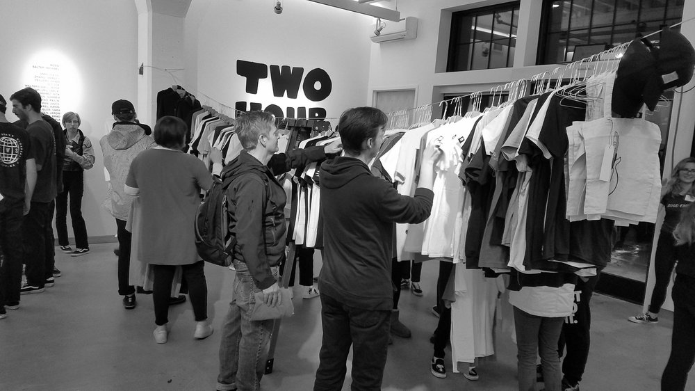 """A """"2 HR JOB"""" - 19 creatives came together to make 5 one-of-a-kind t-shirts and stickers each under a pop-up shop named 2HRJOB. I designed the mascot logo and worked on the street marketing team. Our only restriction was that it needed to be something that came from our hearts."""