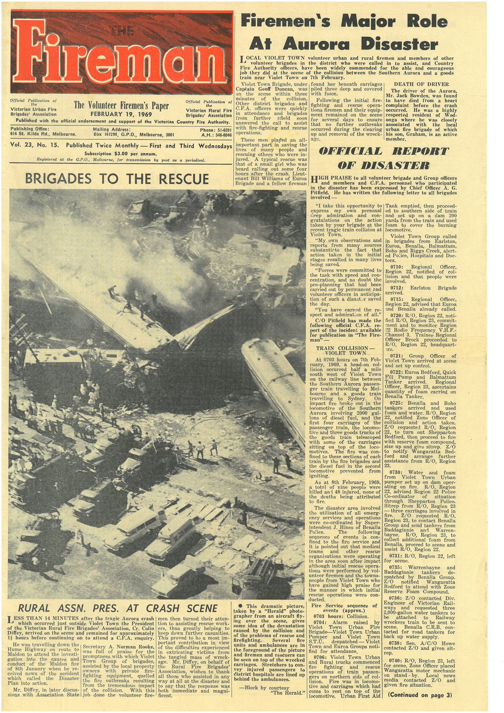 Firemans newspaper from February 1969