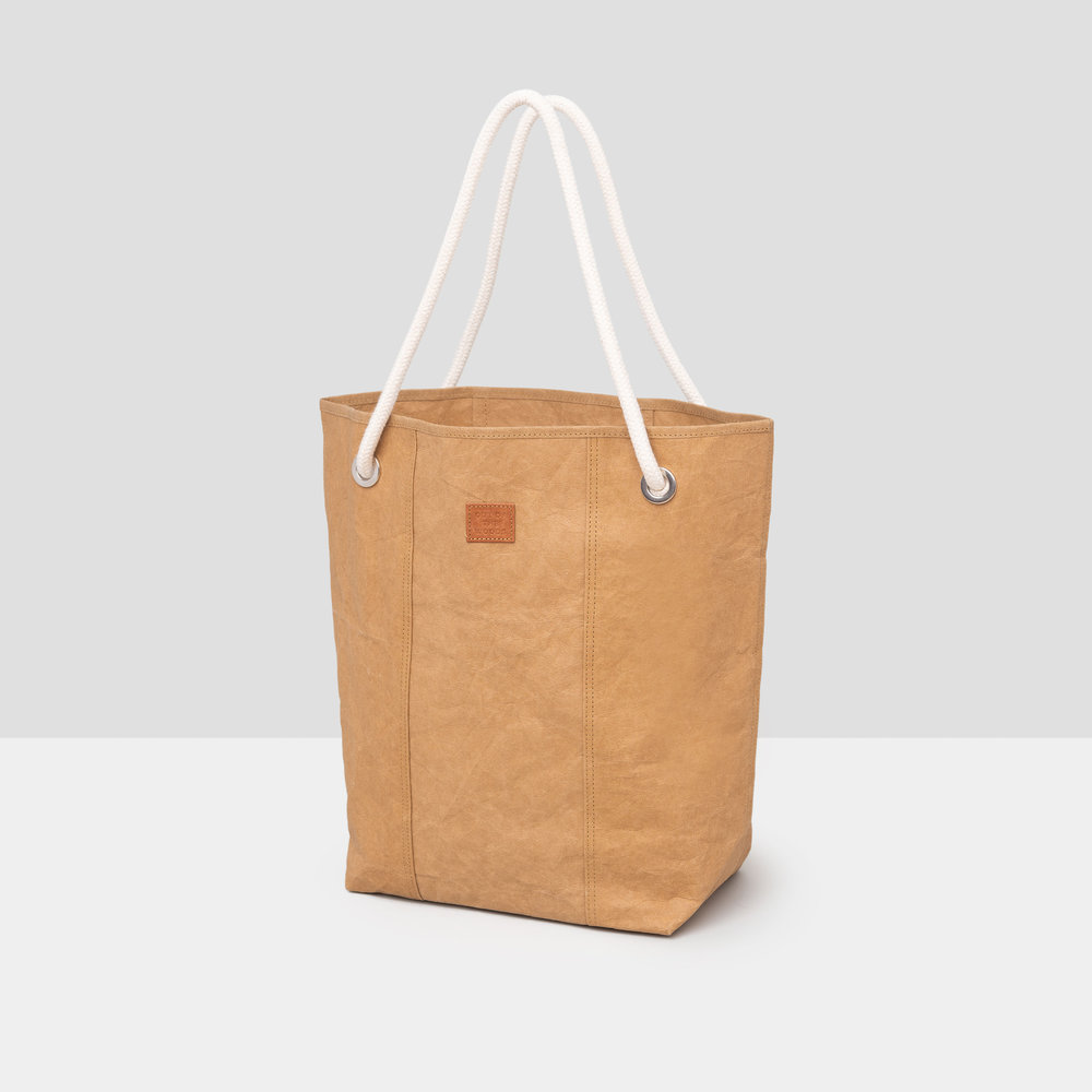 Cord Tote in brown Supernatural Paper with thick white rope handle