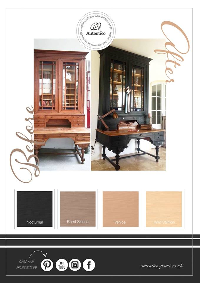 Autentico Vintage chalk Paint - Nocturnal, Burnt Sienna, Venice and Wild Salmon moodboard
