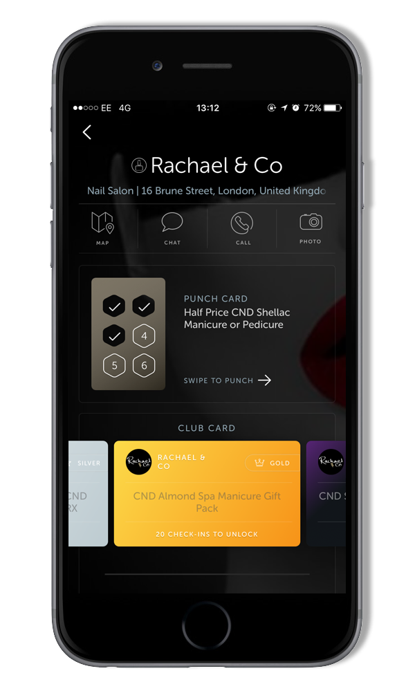 Loyalty App - Get exclusive benefits with the Rachael & Co Loyalty App! Download FLOK from your App store and search for 'Rachael & Co'  HALF PRICE CND Shellac Manicure or Pedicure after your 6th visitFREE Gifts after 10, 20 & 30 visits with our Club Card:     10 visits: Free CND Scentsations Lotion, Solar Oil & Rescue RX20 visits: Free CND Almond Spa Manicure Gift Pack 30 visits: Free Gift Card for CND Shellac Manicure or Pedicure treatment