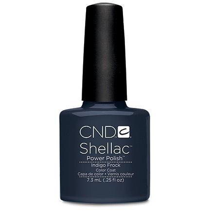 • I N D I G O  F R O C K 👖👗 a bluey grey tone, great for this time of the year! • . . . . . #rachaelandco #cnd #shellac #indigofrock #greynails #nailart #naillove #aldgateeast #liverpoolstreet #spitalfields #nails #nailslondon #londonnails