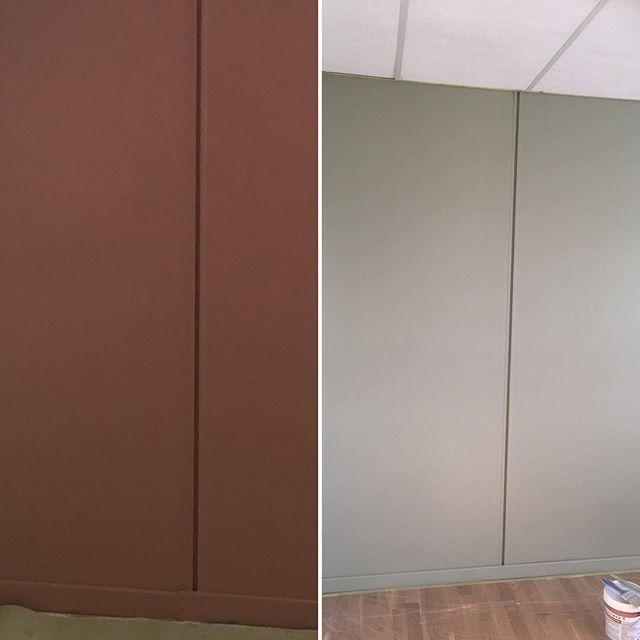 Nye farger på møterommene! #warmblush og #laurbær 👨🏻🎨😁🤗