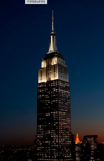 The Empire State building with half its lights off.  Image taken from Mark Consuelos @instasuelos