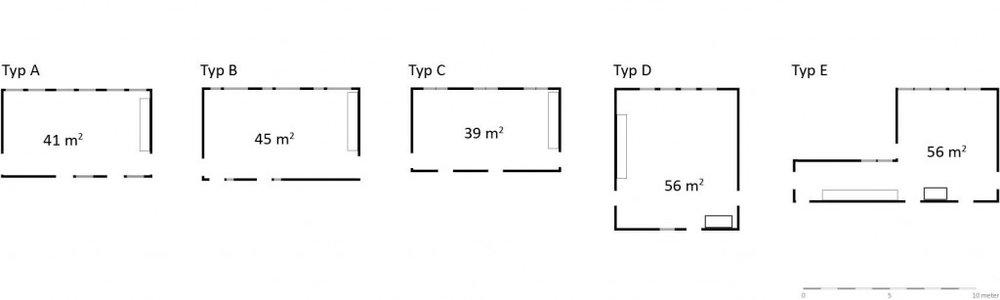 Rekommenderad yta för allrum och matrum är 68 kvadratmeter för 18 barn, vilket ingen av modulförskolorna når upp till. Typ D och E saknar inte så många kvadratmeter, men även om typ E har samma yta som typ D, gör allrummets form det svåranvänt, den användbara ytan är därför betydligt mindre än angivna 56 kvadratmeter.