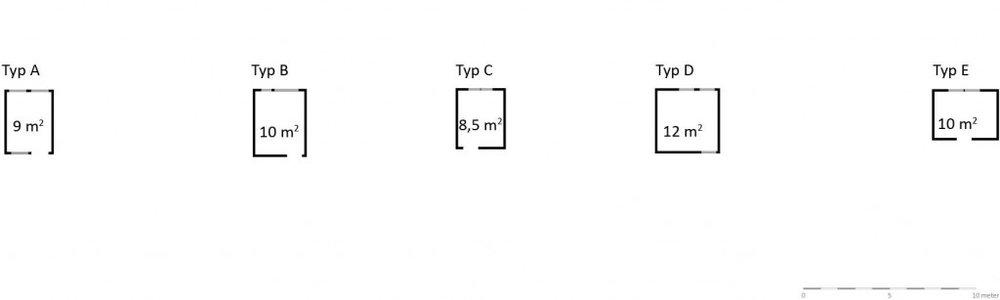 Vid första anblick kan det se ut som om skötrummen i de fem modulförskolorna är likadana. De är ungefär lika stora, från 8,5 m2 till 12 m2 och har liknande form. Den rekommenderade ytan för en avdelning med 18 barn är 13 m2 skötrum exklusive toaletter. Skötrummen är alltså överlag i minsta laget förutom skötrummet i typ D . Skötrummens användbarhet styrs av fler faktorer än bara yta. En annan avgörande skillnad är till exempel hur toaletterna är placerade i förhållande till skötrummen.