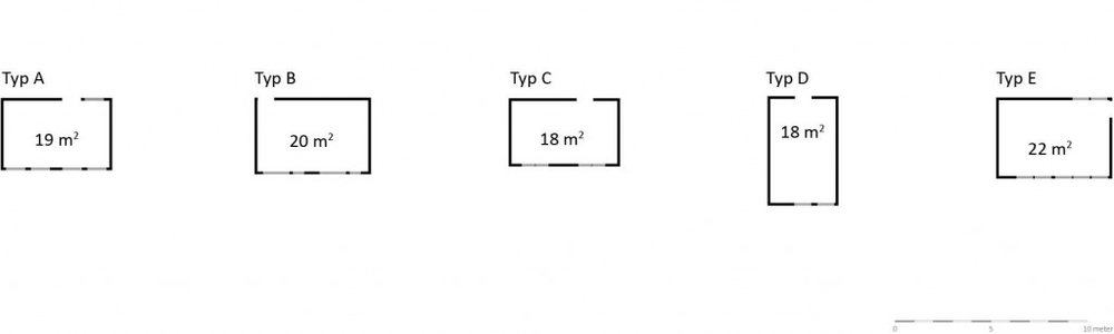 Vilrummen i modulförskolorna är mycket lika. Det enda rummet som avviker är vilrummet i typ D, som har samma form som de övriga, men som har fönster på rummets kortsida. Detta gör att dagsljusförhållandena i detta rum blir sämre, då det både blir mindre fönsteryta till rummet och dagsljuset måste tränga djupare in i rummet än i övriga vilrum. En ytterligare konsekvens av fönstrens placering blir att det inte är möjligt att dela av rummet i två rum med fönster. Den rekommenderade storleken för vilrum är 10 kvadratmeter, vilket alla vilrummen uppnår