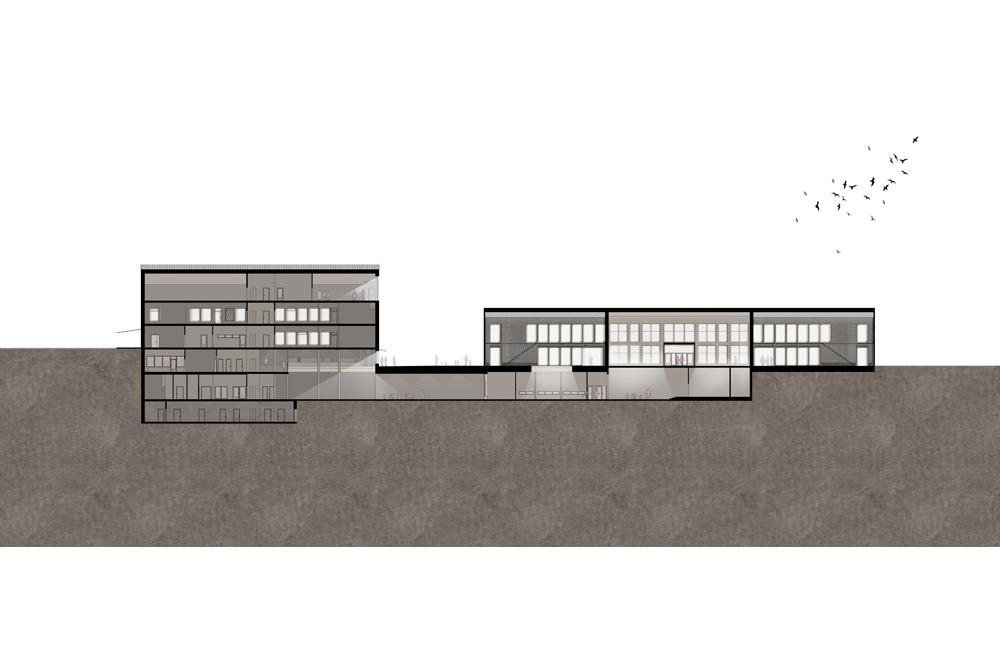 Bobergsskolan ligger i souterräng vilket gjort att extra omsorg lagts vid att dagsljus ska nå genom flera våningar och ge vackra, ljusa rum.