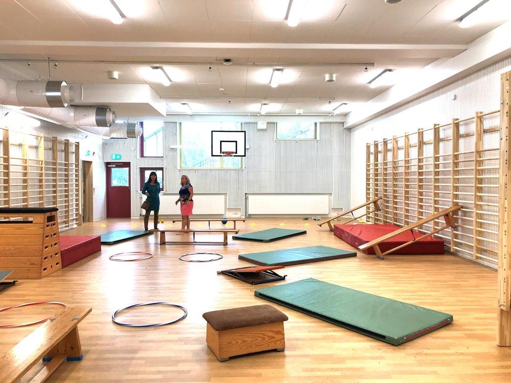 Rörelserummet är ljust och luftigt och har väldigt bra akustik enligt idrottslärare Annika…