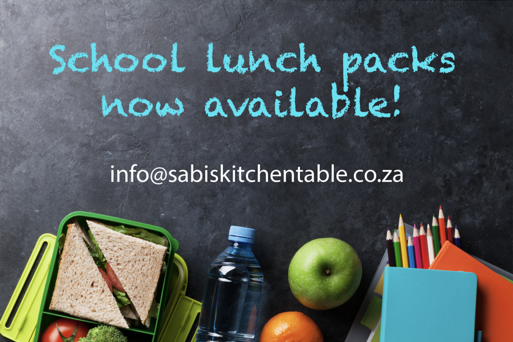 Our First Shop! - Sabi's Kitchen Table launched its first shop at one of the schools in North Riding.We are proud to announce the launch of our lunch school packs for the young ones.Parents can order lunch packs for their children according to their dietary requirements and we will deliver.Contact us for more info!